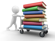 Man and Handtruck with books. Image with clipping path Stock Photo
