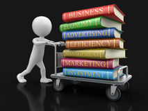 Man and Handtruck with Business books (clipping path included). Man and Handtruck with Business books. Image with clipping path Royalty Free Stock Photo