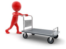 Man and Handtruck (clipping path included). Man and Handtruck. Image with clipping path Royalty Free Stock Photos