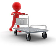 Man and Handtruck (clipping path included). Man and Handtruck. Image with clipping path Royalty Free Stock Images