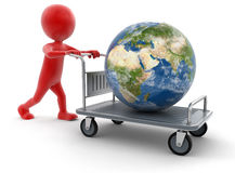 Man and Handtruck with Globe (clipping path included) Stock Image