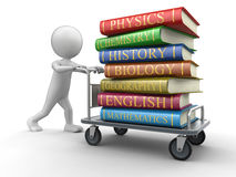 Man and Handtruck with textbooks (clipping path included). Man and Handtruck with textbooks. Image with clipping path Stock Photos