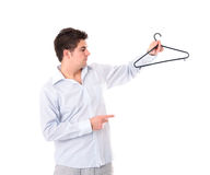 Man with a hanger Stock Image