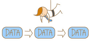 Man hanging from ceiling to steal data. Cartoon character of man hanging from ceiling to steal data Stock Images