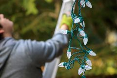 Man in gray holding christmas lights climbs ladder. Man hanging Christmas lights during winter from a ladder royalty free stock photo