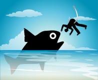 Man hanging at love. And big fish Royalty Free Stock Photos
