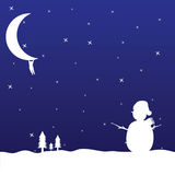 Man hanging on the moon and snowman vector Royalty Free Stock Photography