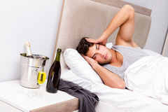 The man with hangover after late partying Stock Images