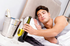 The man with hangover after late partying. Man with hangover after late partying Royalty Free Stock Photos