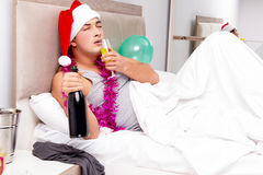 The man with hangover after late partying. Man with hangover after late partying Royalty Free Stock Photo