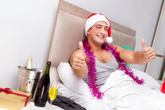 The man with hangover after late partying. Man with hangover after late partying Royalty Free Stock Photography