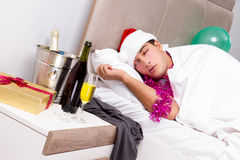 The man with hangover after late partying. Man with hangover after late partying Stock Image