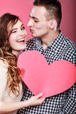 Man and happy blinking woman. Love concept. Stock Photo