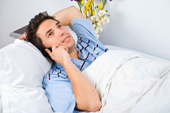 Man happy conversation by phone mobile Stock Photography