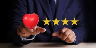 Man Happy Customer give Five Star Rating Experience Customer se. Rvice and care Concept royalty free stock photo