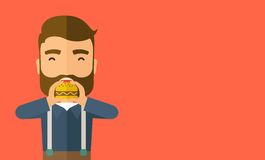 Man happy eating hamburger Royalty Free Stock Photography