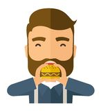 Man happy eating hamburger Stock Photos