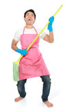 Man happy excited during cleaning Stock Photo
