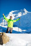 Man happy hiking winter mountains Royalty Free Stock Photography