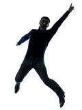 Man happy jumping silhouette full length Royalty Free Stock Images