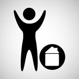 Man happy silhouette with house icon Royalty Free Stock Image