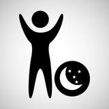 man happy sleeps dreams moon star icon Stock Image