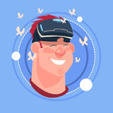 Man Happy Smiling Male Emoji Wearing 3d Virtual Glasses Emotion Icon Avatar Facial Expression Concept. Vector Illustration Stock Photo