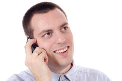 Man happy smiling on the phone Royalty Free Stock Image