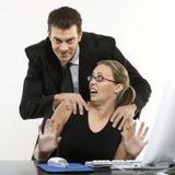 Man harassing woman stock photos