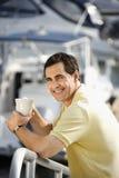 Man at harbor royalty free stock photos