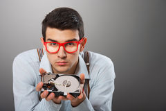 Man with a hard disk drive Royalty Free Stock Images