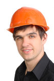 Man in hard hat. The man in the old hard hat Royalty Free Stock Photography