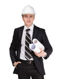 Man in hard hat with blueprint. Man in white hard hat with blueprint, isolated on white Royalty Free Stock Images