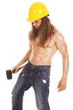 Man hard hat no shirt hammer side Stock Photography