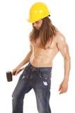Man hard hat no shirt hammer side Stock Photography