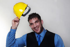 Man and hardhat Royalty Free Stock Photos