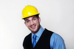 Man and hardhat Royalty Free Stock Photography