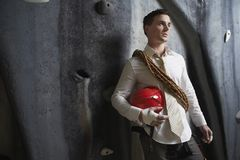 Man With Hardhat And Rope Stock Images