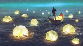 Man harvesting moons on the sea. Night scenery of a man rowing a boat among many glowing moons floating on the sea, digital art style, illustration painting Royalty Free Stock Photo