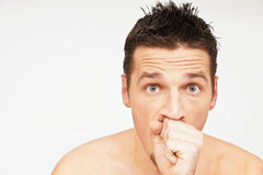 Man Has A Cough Royalty Free Stock Photography