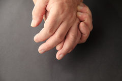 Man has aching hand with copy space Stock Photography