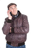 Man has a annoying phone call Stock Images