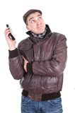 Man has a annoying phone call Stock Image