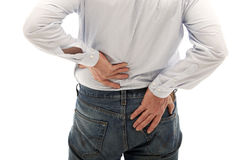 Man has back pain. Royalty Free Stock Photos