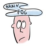 Man has a brain fog.  vector illustration