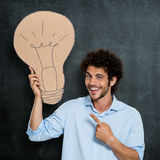 Man Has A Bright Idea Royalty Free Stock Photography