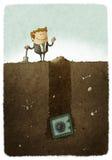 Man has buried his savings. Illustration of businessman has buried his savings Royalty Free Stock Photos