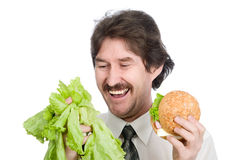 The man has chosen salad Stock Photography
