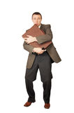 Man has clasped a suitcase by hands Stock Photo