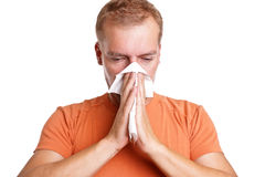 Man has a common cold Royalty Free Stock Photos